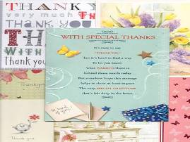 Sample of Thank You cards received